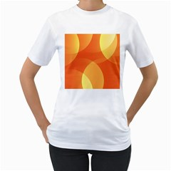 Abstract Orange Yellow Red Color Women s T-Shirt (White) (Two Sided)