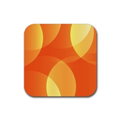 Abstract Orange Yellow Red Color Rubber Square Coaster (4 Pack)