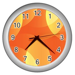 Abstract Orange Yellow Red Color Wall Clocks (Silver)
