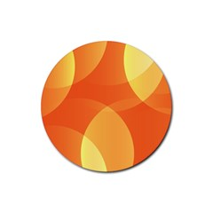 Abstract Orange Yellow Red Color Rubber Round Coaster (4 pack)