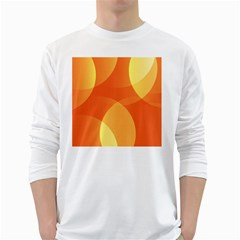 Abstract Orange Yellow Red Color White Long Sleeve T Shirts