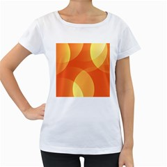 Abstract Orange Yellow Red Color Women s Loose Fit T Shirt (white)