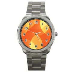 Abstract Orange Yellow Red Color Sport Metal Watch