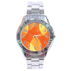 Abstract Orange Yellow Red Color Stainless Steel Analogue Watch