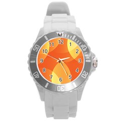 Abstract Orange Yellow Red Color Round Plastic Sport Watch (L)