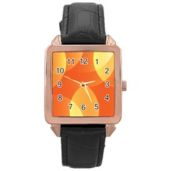 Abstract Orange Yellow Red Color Rose Gold Leather Watch