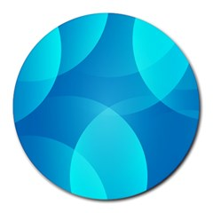 Abstract Blue Wallpaper Wave Round Mousepads