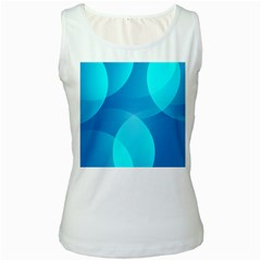 Abstract Blue Wallpaper Wave Women s White Tank Top