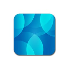 Abstract Blue Wallpaper Wave Rubber Square Coaster (4 Pack)