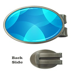 Abstract Blue Wallpaper Wave Money Clips (oval)