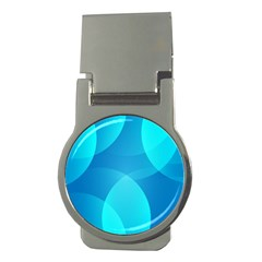 Abstract Blue Wallpaper Wave Money Clips (Round)