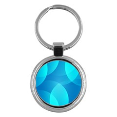 Abstract Blue Wallpaper Wave Key Chains (Round)