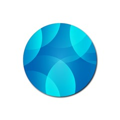 Abstract Blue Wallpaper Wave Rubber Coaster (Round)