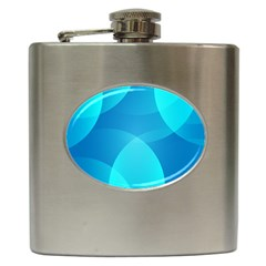 Abstract Blue Wallpaper Wave Hip Flask (6 Oz)