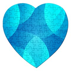 Abstract Blue Wallpaper Wave Jigsaw Puzzle (heart)