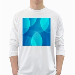 Abstract Blue Wallpaper Wave White Long Sleeve T Shirts