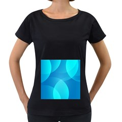 Abstract Blue Wallpaper Wave Women s Loose Fit T Shirt (black)