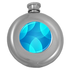 Abstract Blue Wallpaper Wave Round Hip Flask (5 oz)