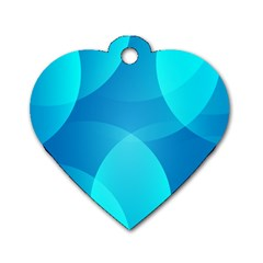 Abstract Blue Wallpaper Wave Dog Tag Heart (Two Sides)