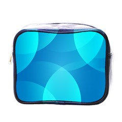 Abstract Blue Wallpaper Wave Mini Toiletries Bags
