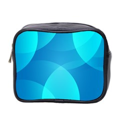 Abstract Blue Wallpaper Wave Mini Toiletries Bag 2 Side