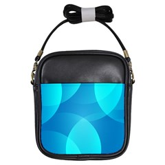 Abstract Blue Wallpaper Wave Girls Sling Bags