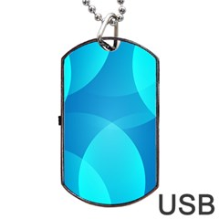 Abstract Blue Wallpaper Wave Dog Tag USB Flash (One Side)