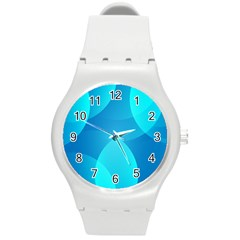 Abstract Blue Wallpaper Wave Round Plastic Sport Watch (m)