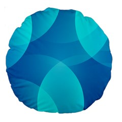 Abstract Blue Wallpaper Wave Large 18  Premium Round Cushions