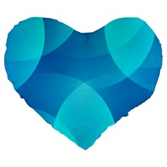 Abstract Blue Wallpaper Wave Large 19  Premium Heart Shape Cushions