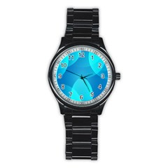 Abstract Blue Wallpaper Wave Stainless Steel Round Watch
