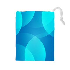 Abstract Blue Wallpaper Wave Drawstring Pouches (large)