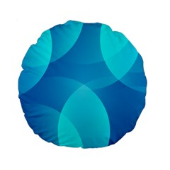 Abstract Blue Wallpaper Wave Standard 15  Premium Flano Round Cushions