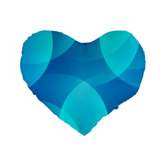 Abstract Blue Wallpaper Wave Standard 16  Premium Flano Heart Shape Cushions