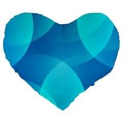 Abstract Blue Wallpaper Wave Large 19  Premium Flano Heart Shape Cushions