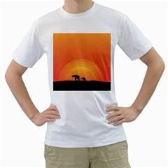 Elephant Baby Elephant Wildlife Men s T Shirt (white) (two Sided)