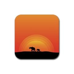 Elephant Baby Elephant Wildlife Rubber Coaster (square)