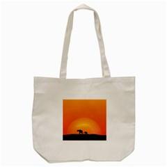 Elephant Baby Elephant Wildlife Tote Bag (Cream)