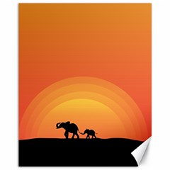 Elephant Baby Elephant Wildlife Canvas 11  x 14