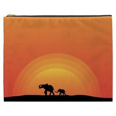 Elephant Baby Elephant Wildlife Cosmetic Bag (xxxl)