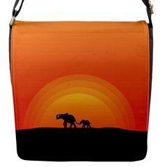 Elephant Baby Elephant Wildlife Flap Messenger Bag (s)