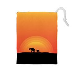 Elephant Baby Elephant Wildlife Drawstring Pouches (large)