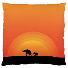 Elephant Baby Elephant Wildlife Standard Flano Cushion Case (two Sides)