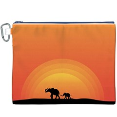 Elephant Baby Elephant Wildlife Canvas Cosmetic Bag (xxxl)