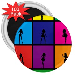 Girls Fashion Fashion Girl Young 3  Magnets (100 Pack)