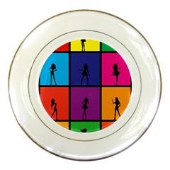 Girls Fashion Fashion Girl Young Porcelain Plates