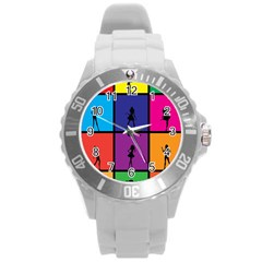 Girls Fashion Fashion Girl Young Round Plastic Sport Watch (L)