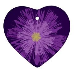 Purple Flower Floral Purple Flowers Ornament (Heart)