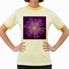 Purple Flower Floral Purple Flowers Women s Fitted Ringer T-Shirts