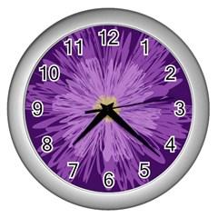 Purple Flower Floral Purple Flowers Wall Clocks (Silver)